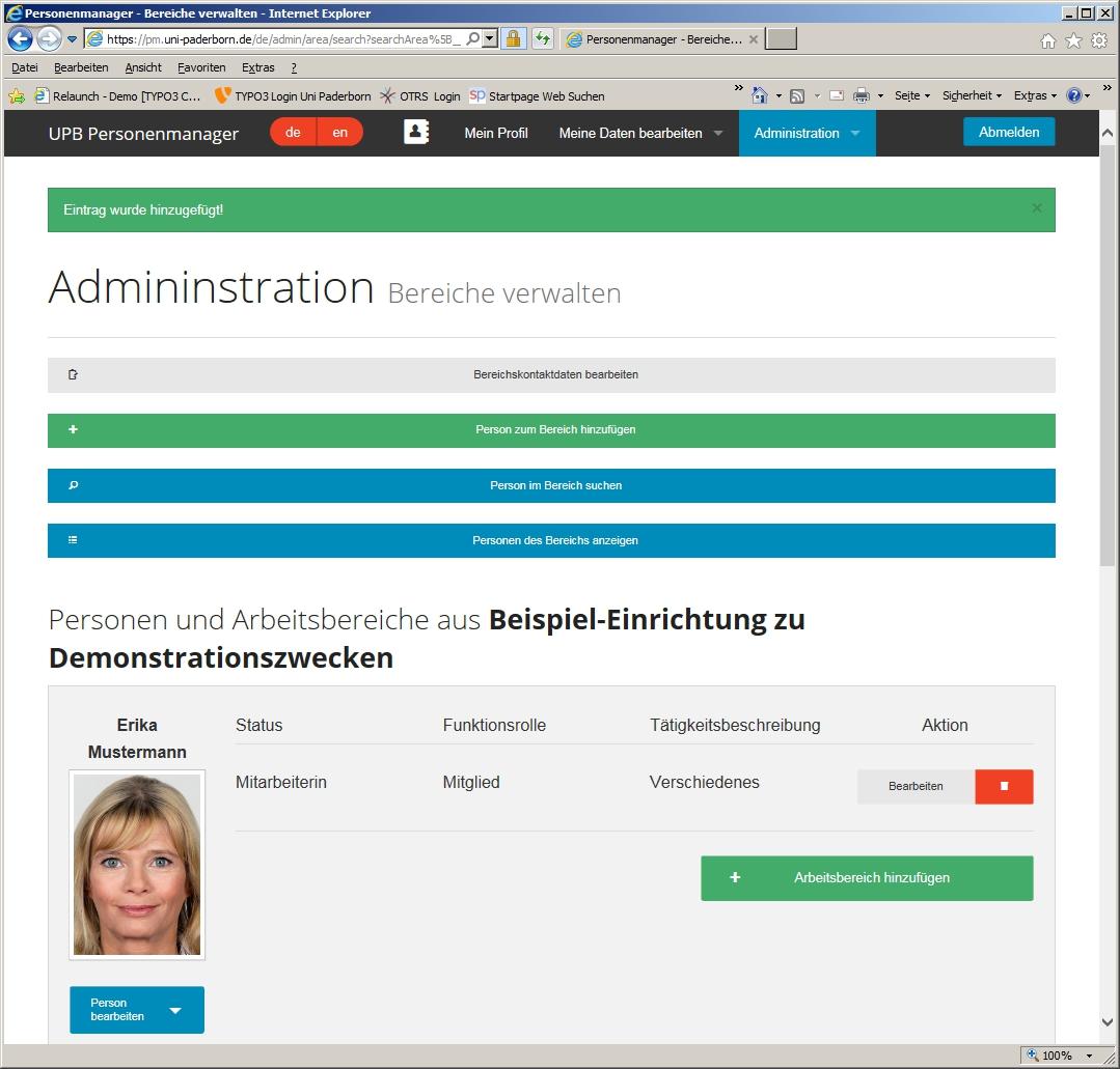 Webanwendung Personenmanager Person Zu Einem Bereich Hinzufügen